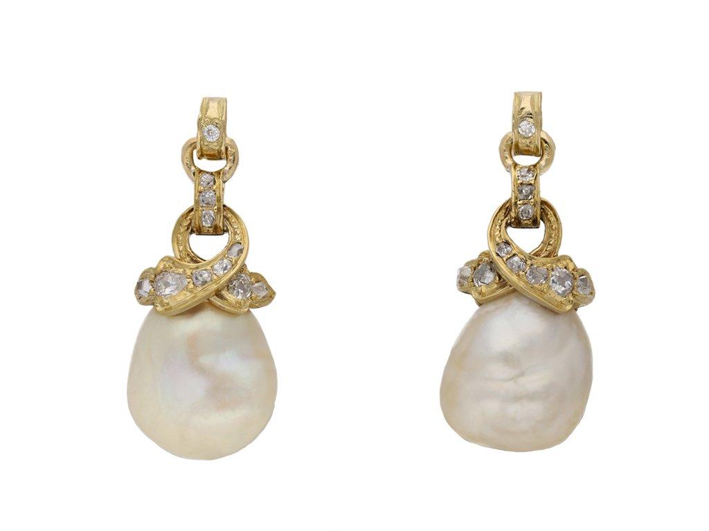 Natural pearl and diamond earrings berganza hatton garden