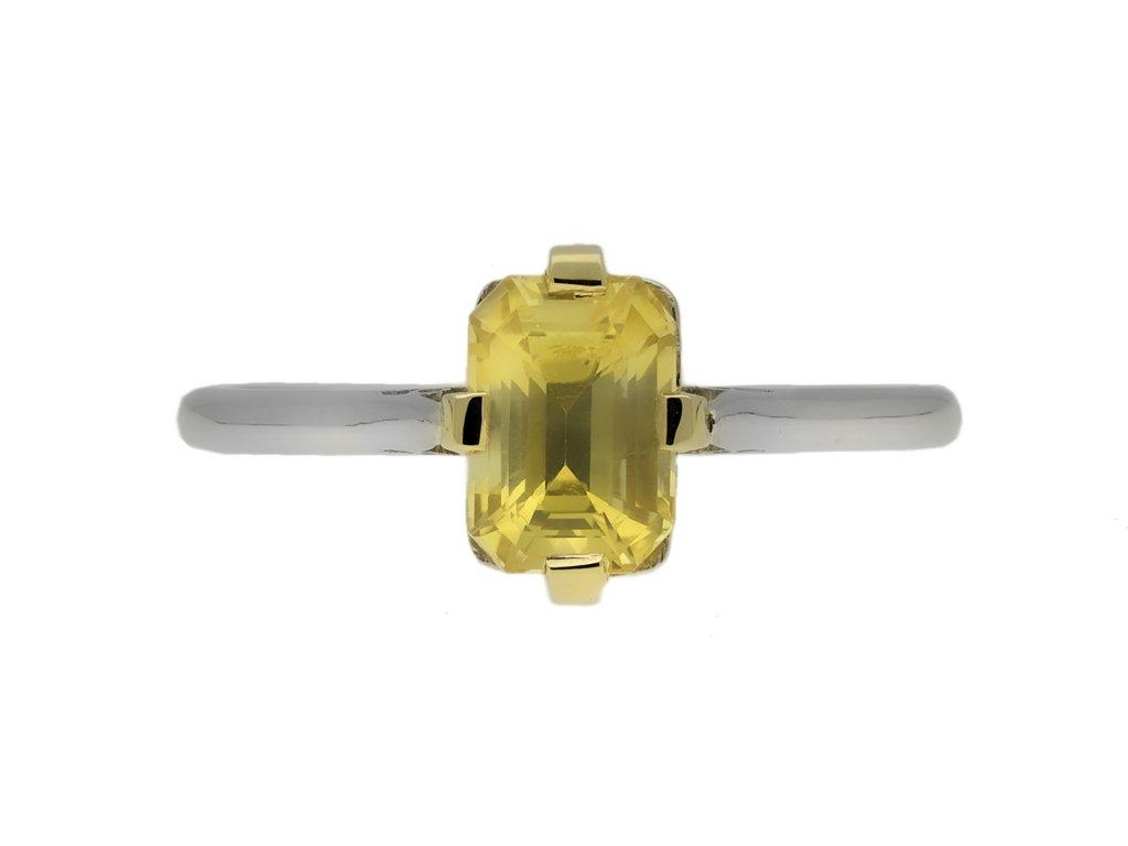 Vintage yellow sapphire solitaire ring berganza hatton garden