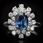 Vintage sapphire and diamond cluster ring, circa 1980.
