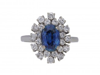 Vintage sapphire and diamond cluster ring berganza hatton garden