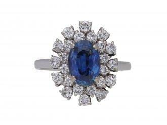 Vintage sapphire and diamond cluster ring berganza hatton garden