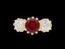 Pigeon's blood Burmese ruby and diamond three stone ring, circa 1900.