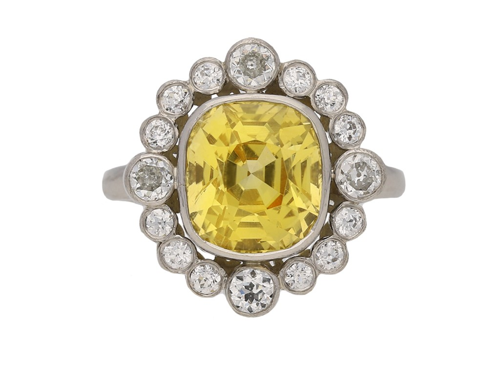vintage yellow sapphire diamond ring hatton garden berganza