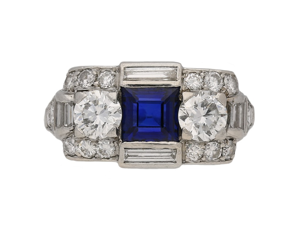 Tiffany Art Deco sapphire diamond ring berganza hatton garden