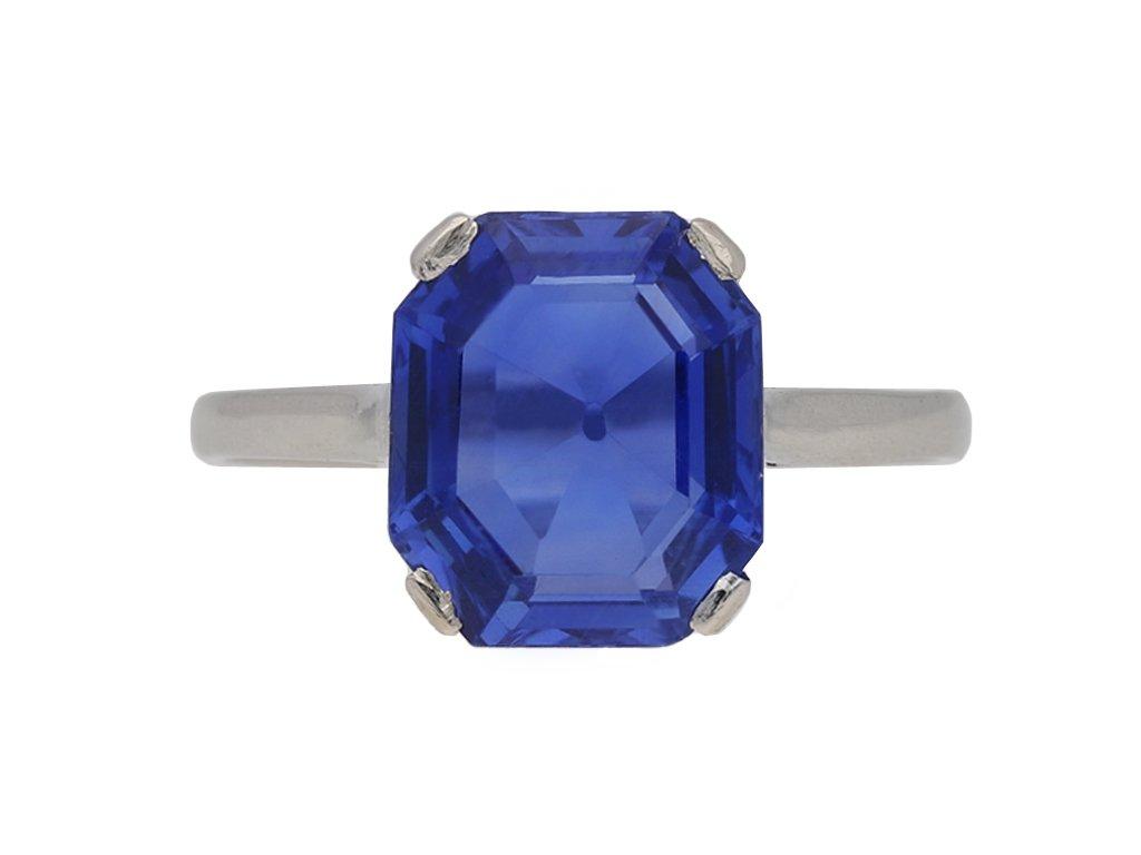 art deco Ceylon sapphire ring hatton garden berganza