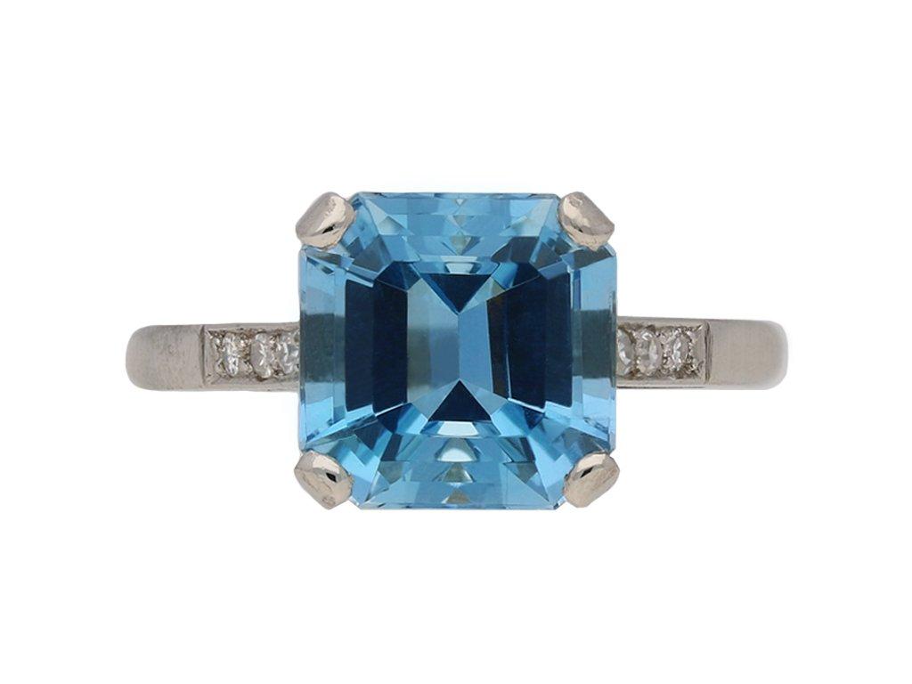 vintage diamond aquamarine ring berganza hatton garden
