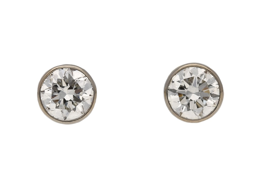 vintage diamond gold stud earrings berganza hatton garden