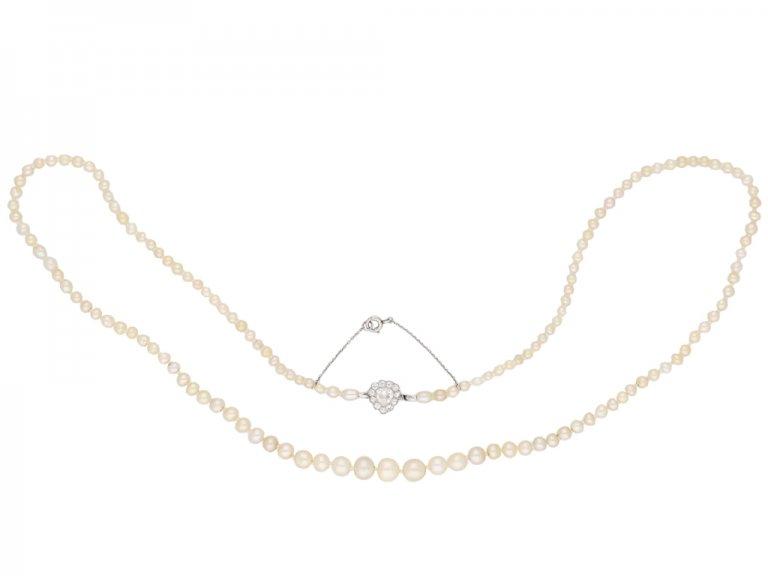 Belle Époque natural pearl diamond necklace berganza hatton garden