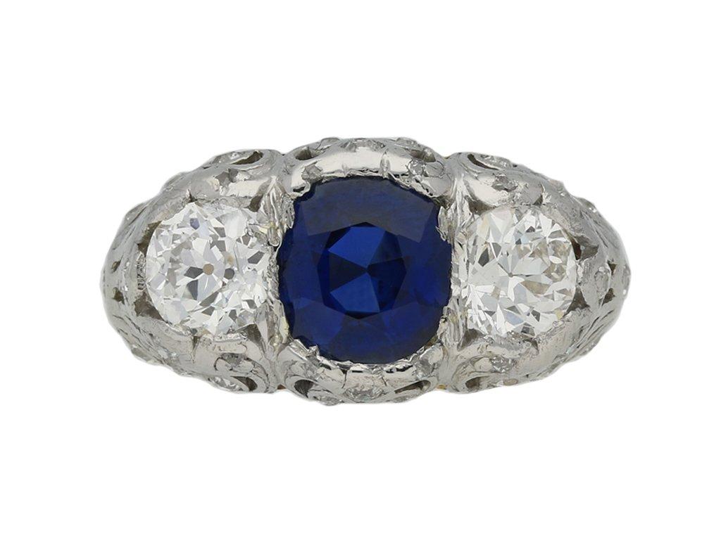 art deco daimond sapphire ring hatton garden berganza