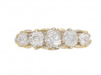 Antique carved five stone diamond ring berganza hatton garden
