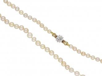 Antique natural pearl necklace diamond  berganza hatton garden