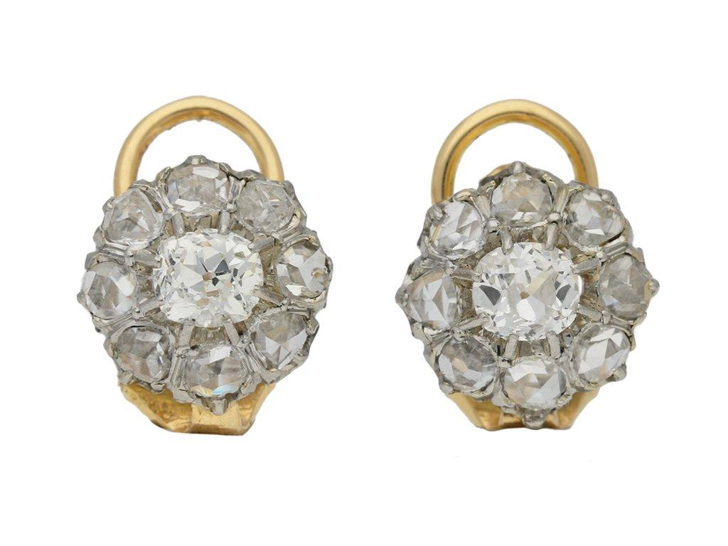 antique diamond cluster earrings hatton garden berganza