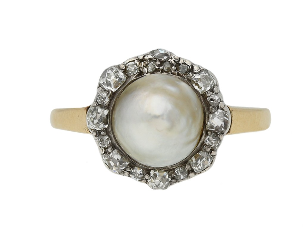 antique pearl diamond cluster ring berganza hatton garden