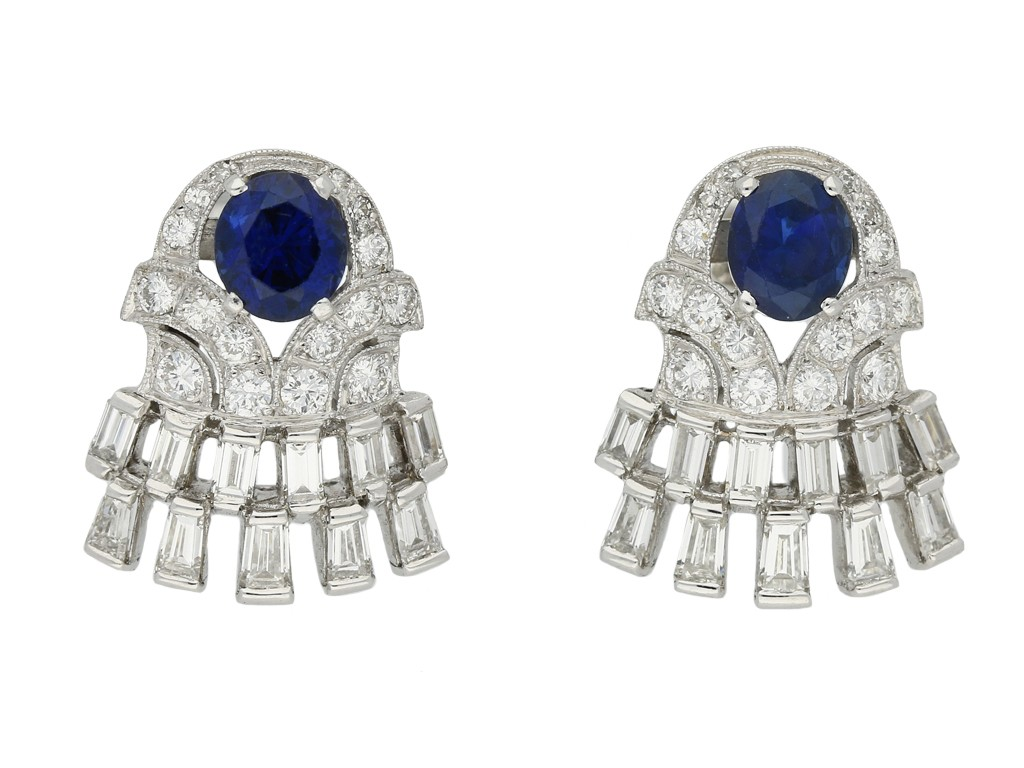 Vintage sapphire and diamond earrings berganza hatton garden