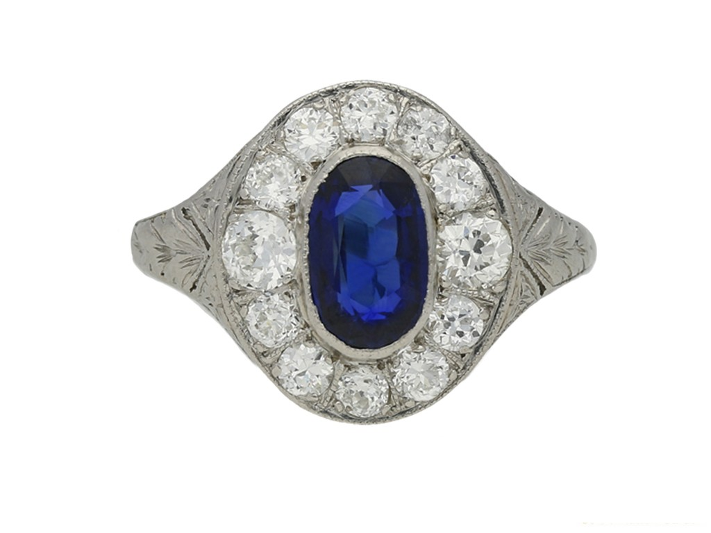 antique diamond sapphire cluster ring berganza hatton garden