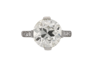 Diamond flanked solitaire ring, French, circa 1950.