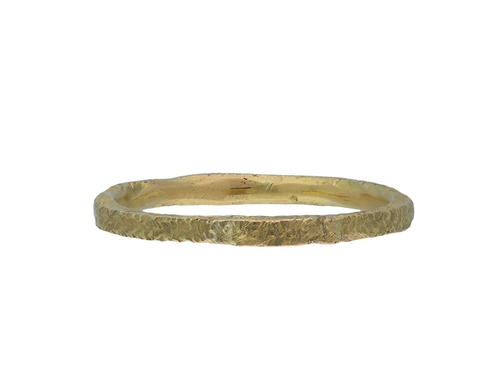 Medieval yellow gold band hatton garden
