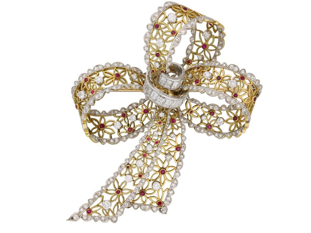 vintage ruby diamond bow brooch berganza hatton garden