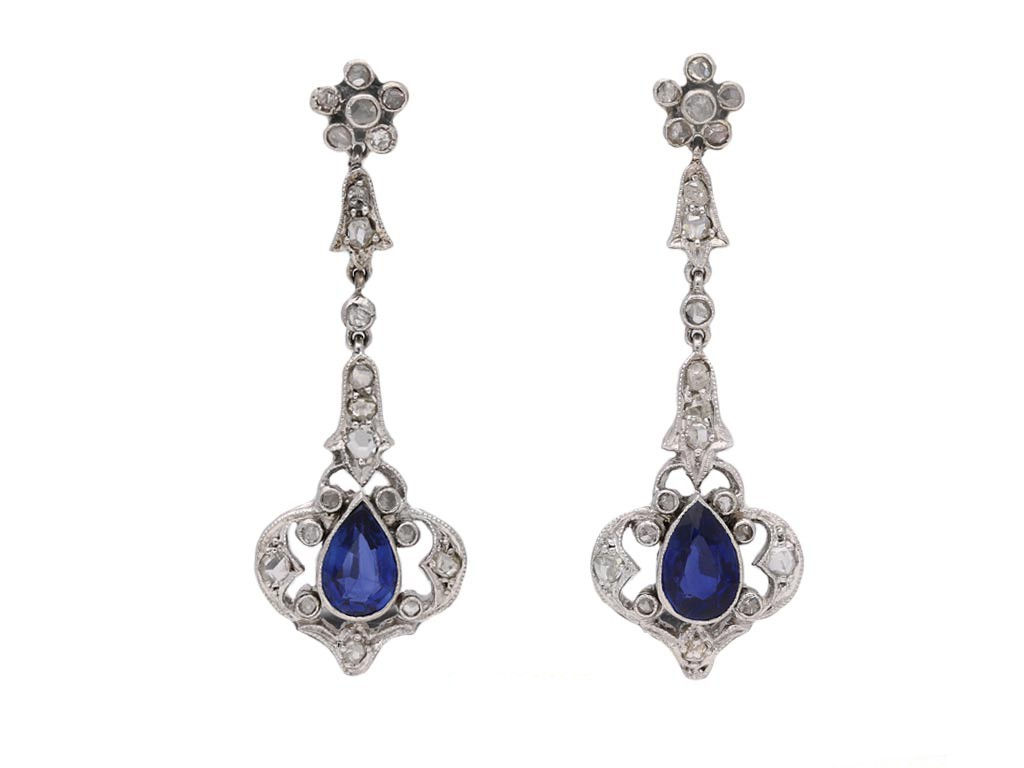 antique diamond sapphire earrings berganza hatton garden