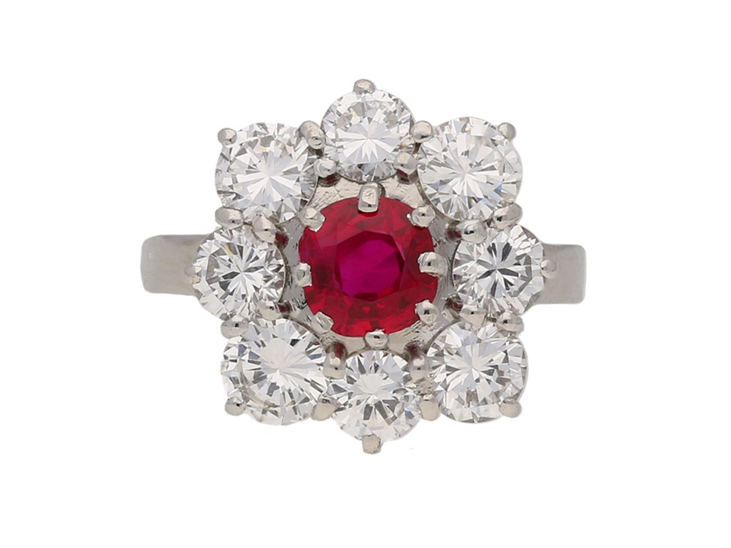 vintage ruby diamond cluster ring berganza hatton garden