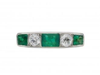 Emerald and diamond five stone ring hatton garden