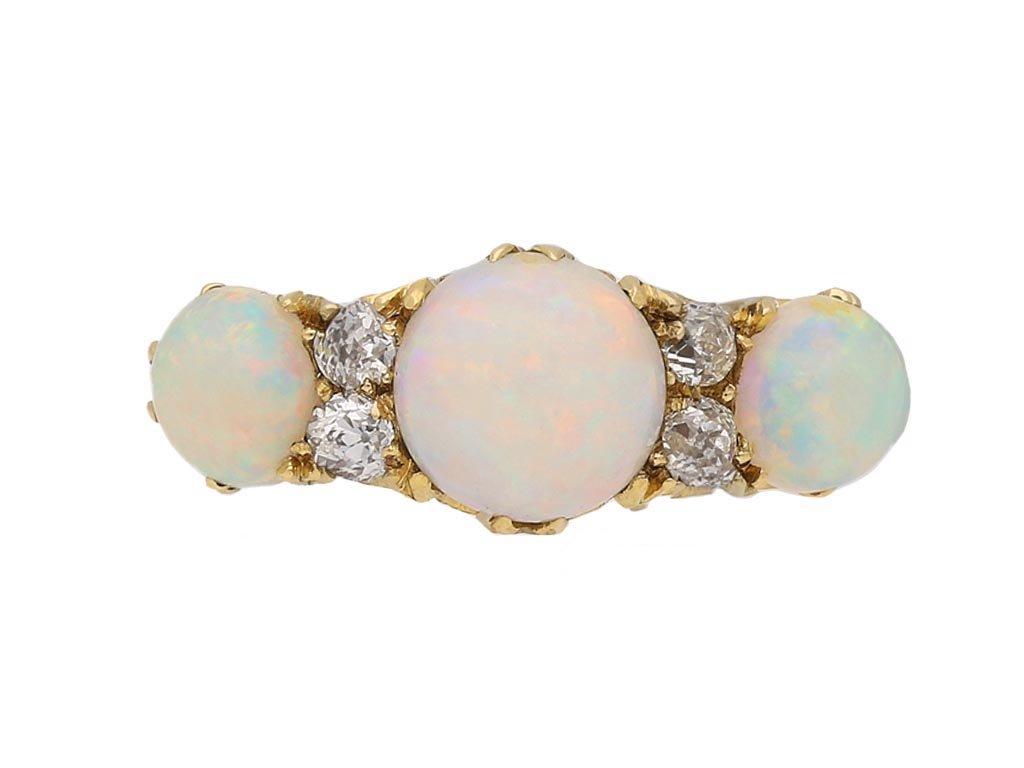 Antique opal diamond seven stone ring berganza hatton garden