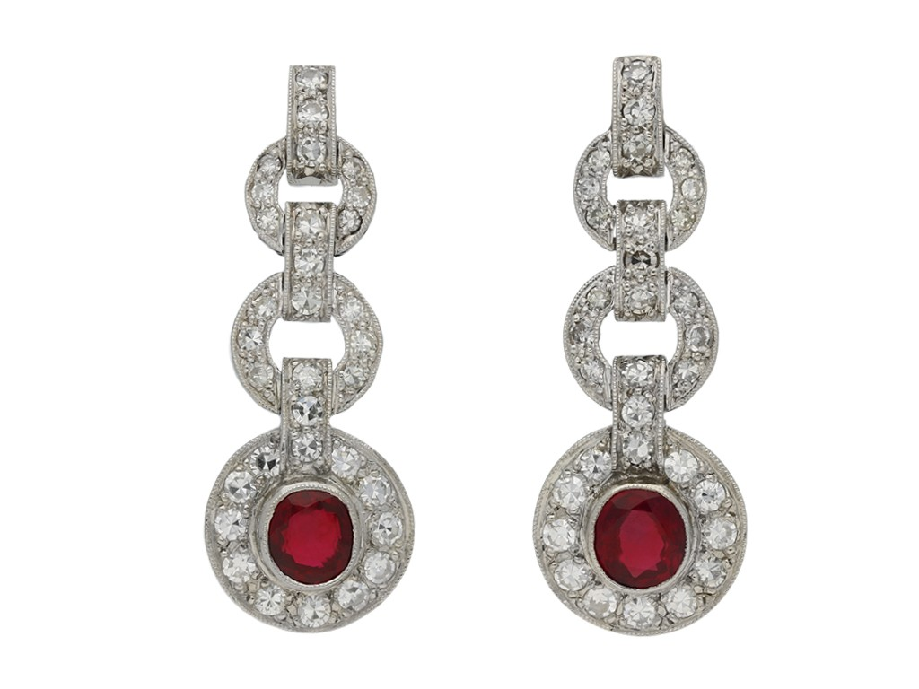 Burmese ruby and diamond earrings berganza hatton garden