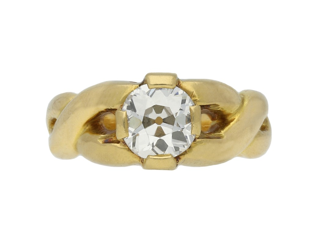 vintage Old mine diamond solitaire ring berganza hatton garden