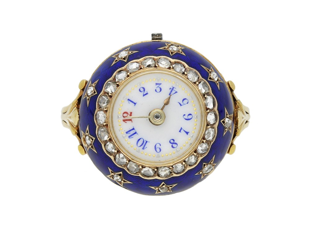 edwardian enamel diamond watch ring berganza hatton garden