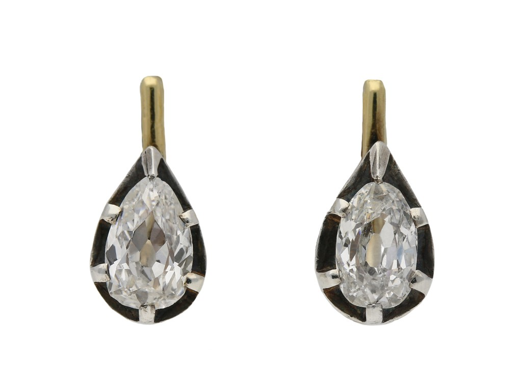Vintage diamond drop shape earrings berganza hatton garden