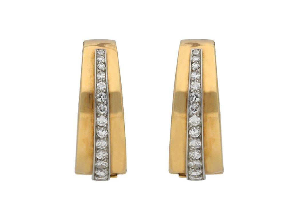 Diamond clip hoop earrings, French berganza hatton garden