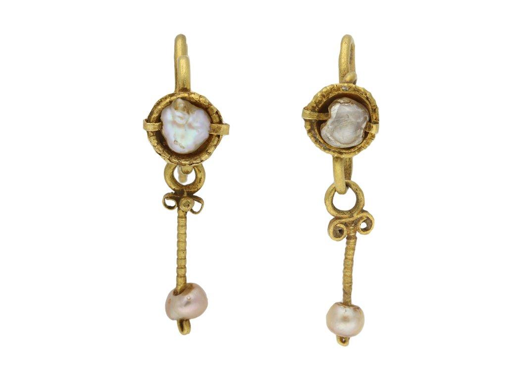 Byzantine pearl and yellow gold earrings berganza hatton garden