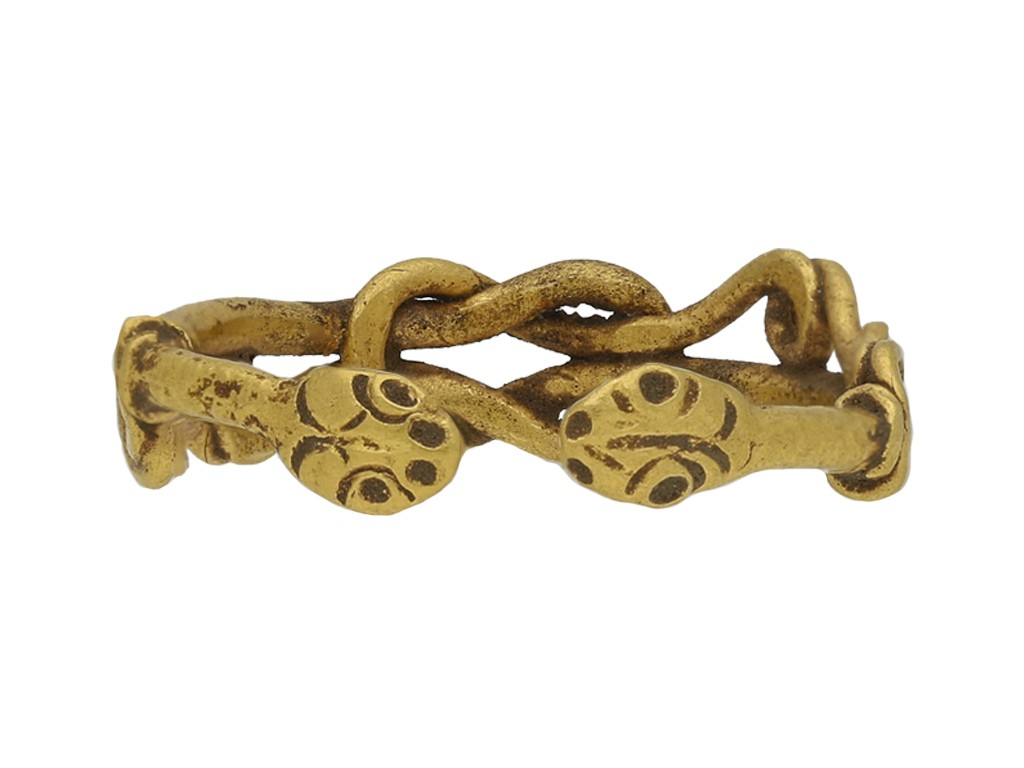 Viking yellow gold love ring berganza hatton garden