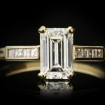 Emerald-cut diamond solitaire ring, circa 1940.