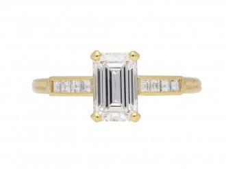 Vintage emerald cut diamond solitaire ring berganza hatton garden