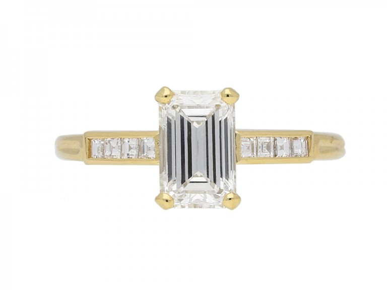 Vintage emerald cut diamond solitaire ring berganza hatton garden