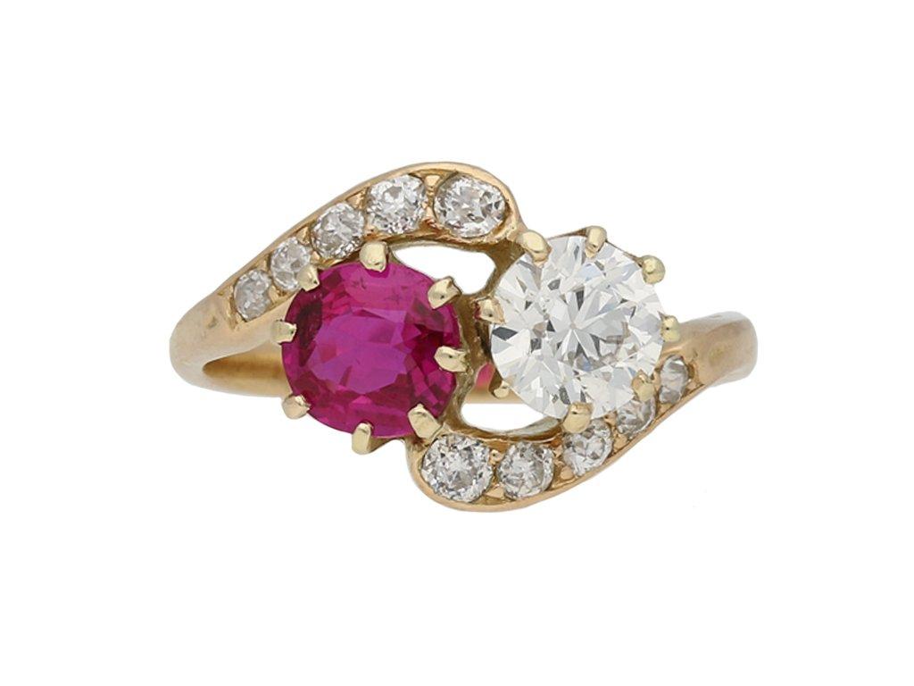 Victorian ruby and diamond cross over ring berganza hatton garden