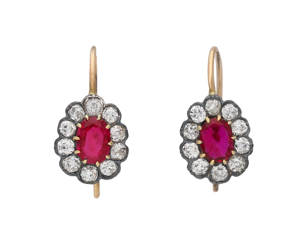 Antique ruby cluster earrings berganza hatton garden