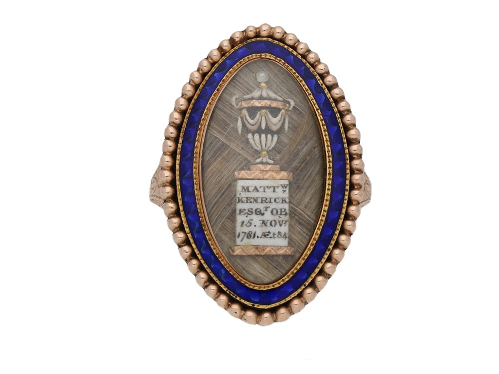 Georgian 'urn' blue enamel mourning ring berganza hatton garden