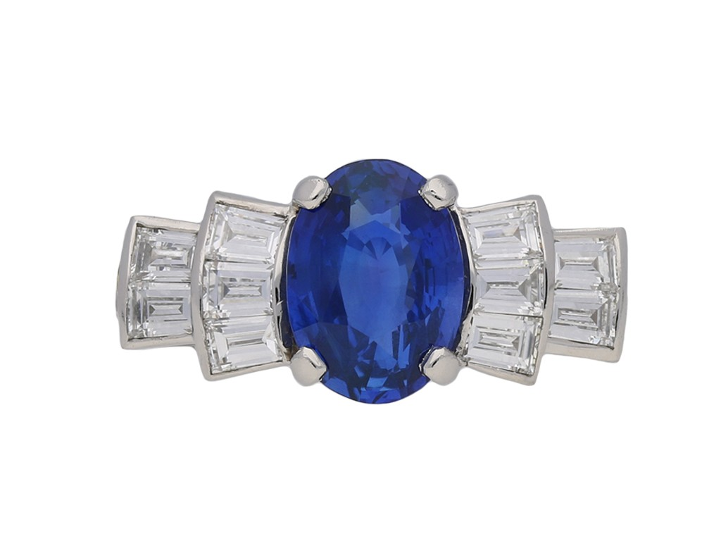 Art Deco sapphire and diamond ring berganza hatton garden