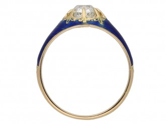 Victorian diamond and blue enamel ring berganza hatton garden