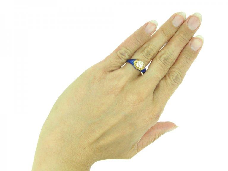 Victorian diamond and blue enamel ring berganza hatton garden