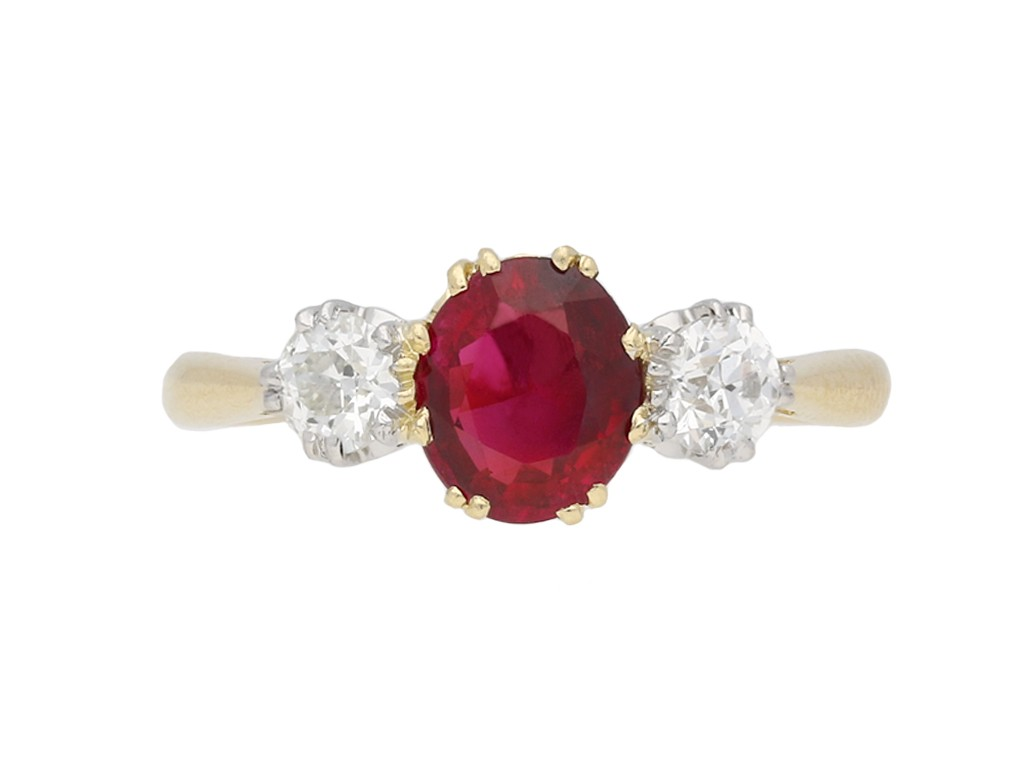 Burmese ruby and diamond three stone ring berganza hatton garden