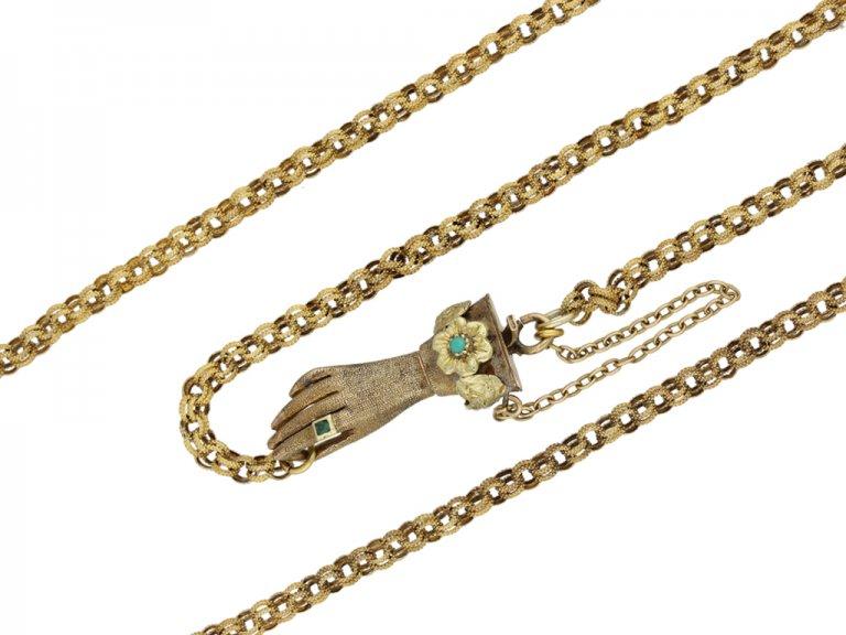 Georgian chain with gem set hand clasp berganza hatton garden