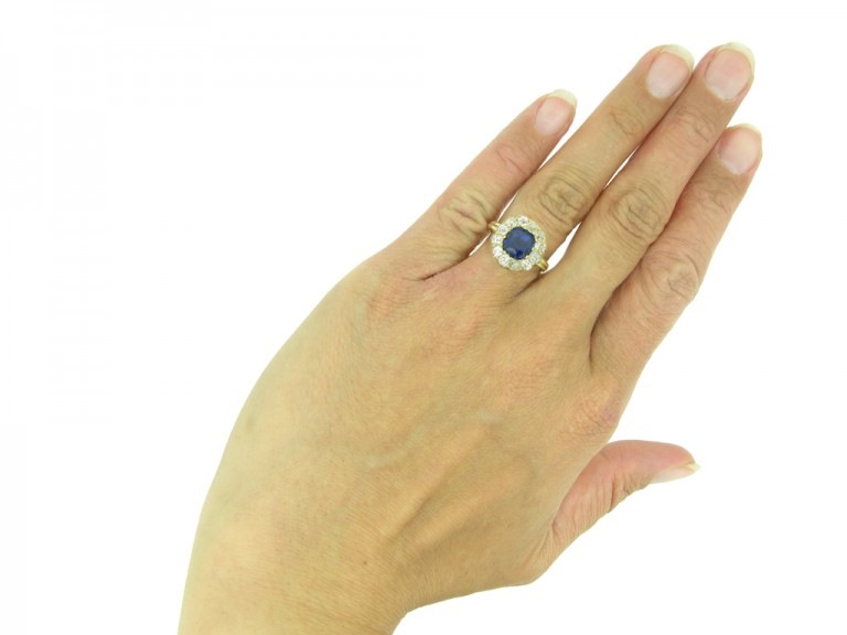Antique sapphire diamond cluster ring berganza hatton garden