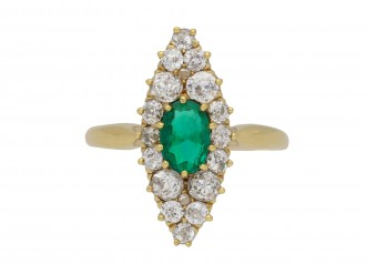 emerald and diamond marquise cluster ring berganza hatton garden