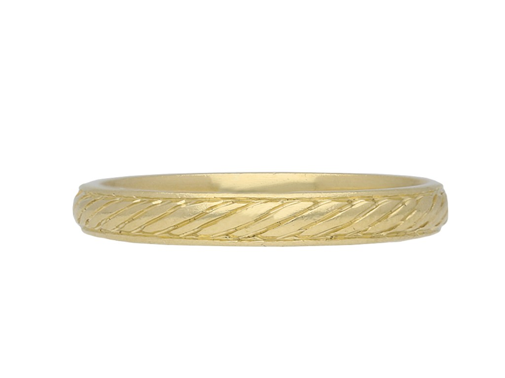 Vintage gold rope engraved wedding band berganza hatton garden