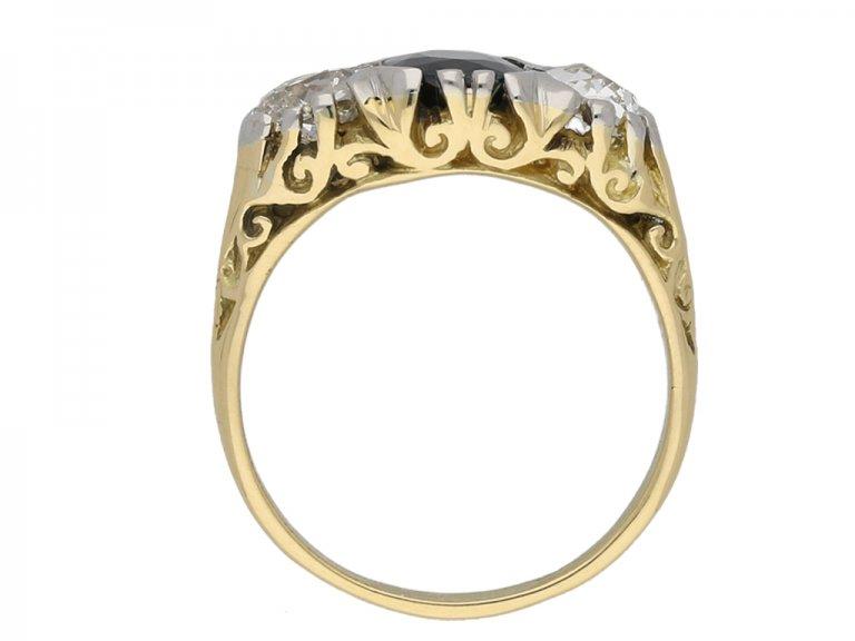 Victorian sapphire and diamond carved ring berganza hatton garden