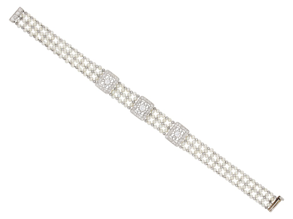 Edwardian diamond and seed pearl bracelet, berganza hatton garden