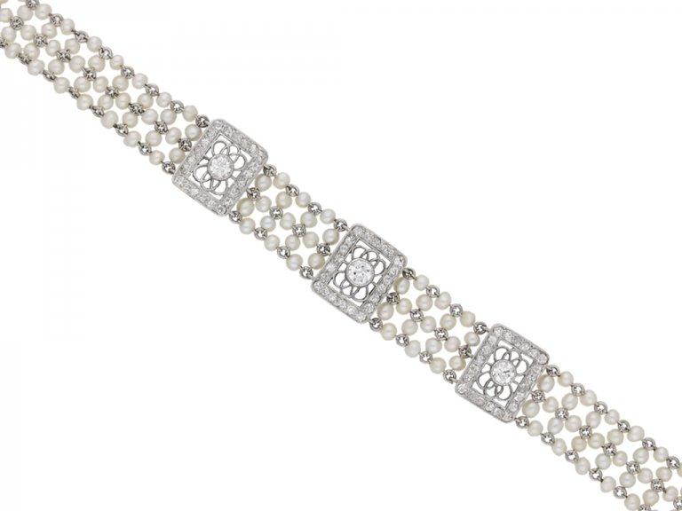 Edwardian diamond and seed pearl bracelet, berganza hatton garden